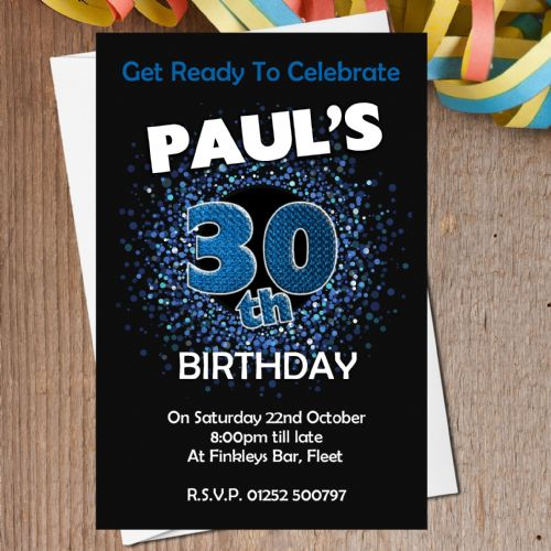 10 Personalised Blue Sparkle Birthday Party Invitations N201